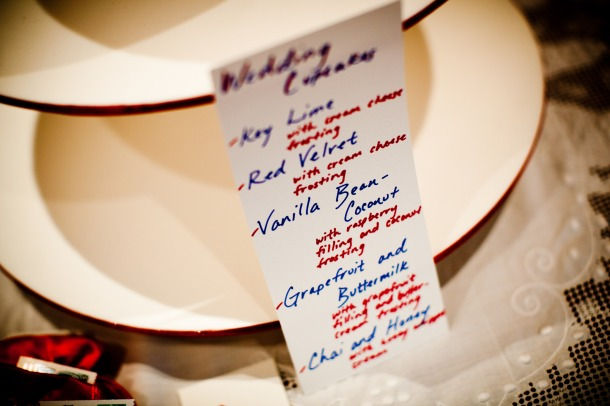 wedding cupcake menu