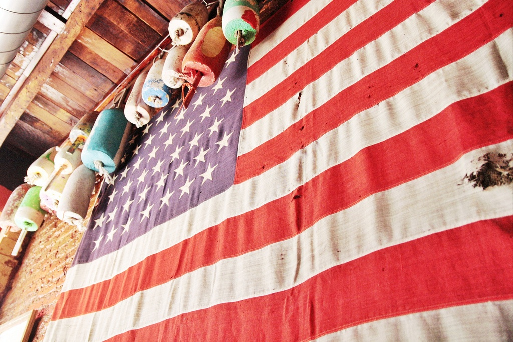 American flag at tackle box