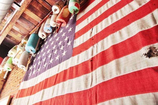 American flag at tackle box